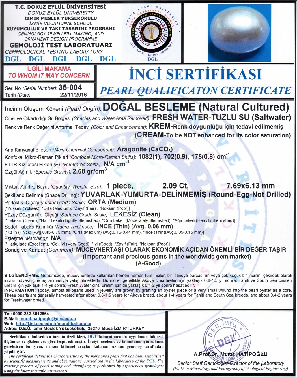 Freshwater Pearl Laboratory certificate